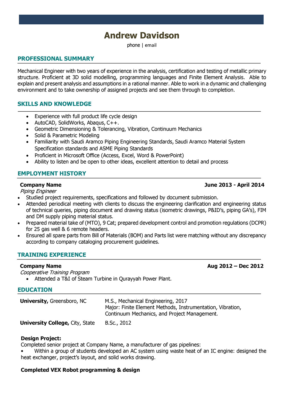 Best Resume for Mechanical Engineer   williamson-ga.us