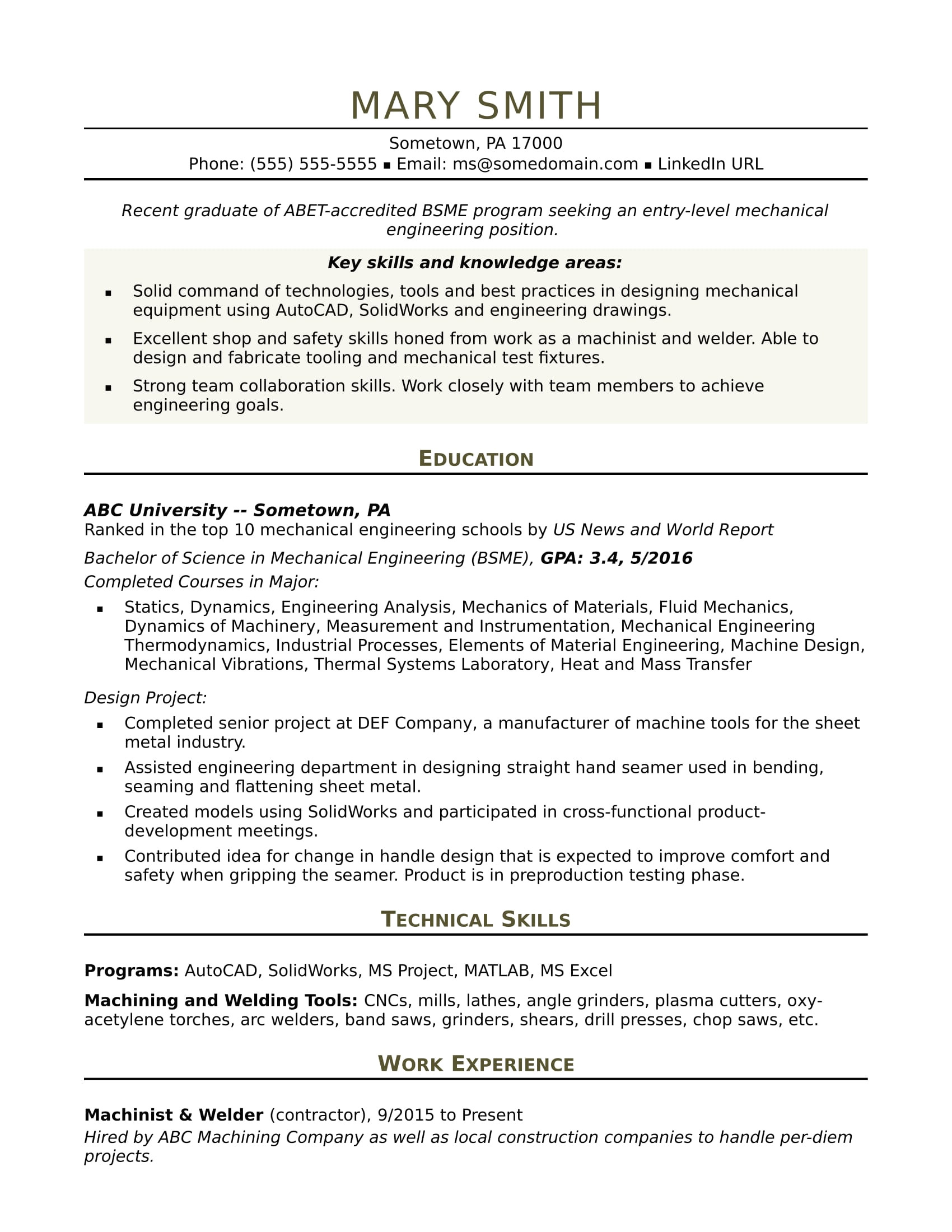 sample resume mechanical engineer entry level