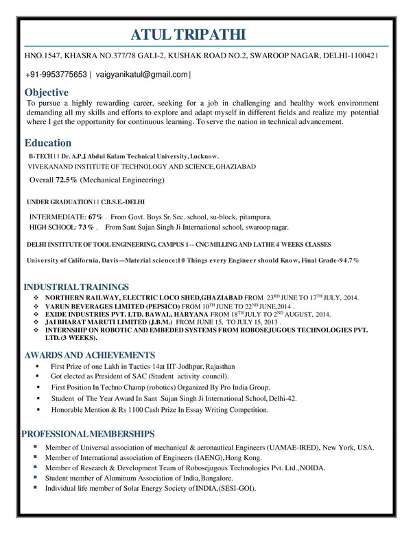 what is the best resume for mechanical engineer fresher