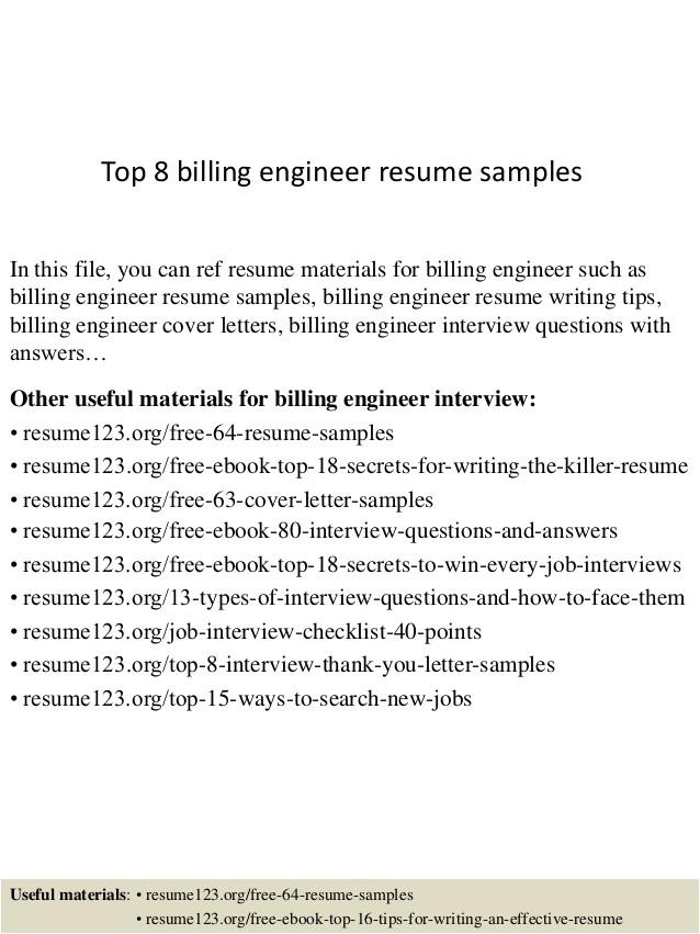 Billing Engineer Resume top 8 Billing Engineer Resume Samples