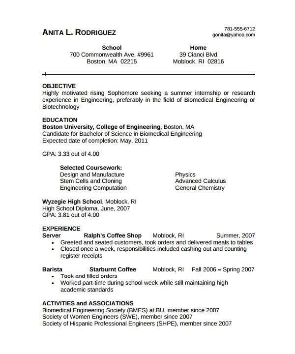 Biomedical Engineer Resume Sample Biomedical Engineer Resume 9 Free Documents