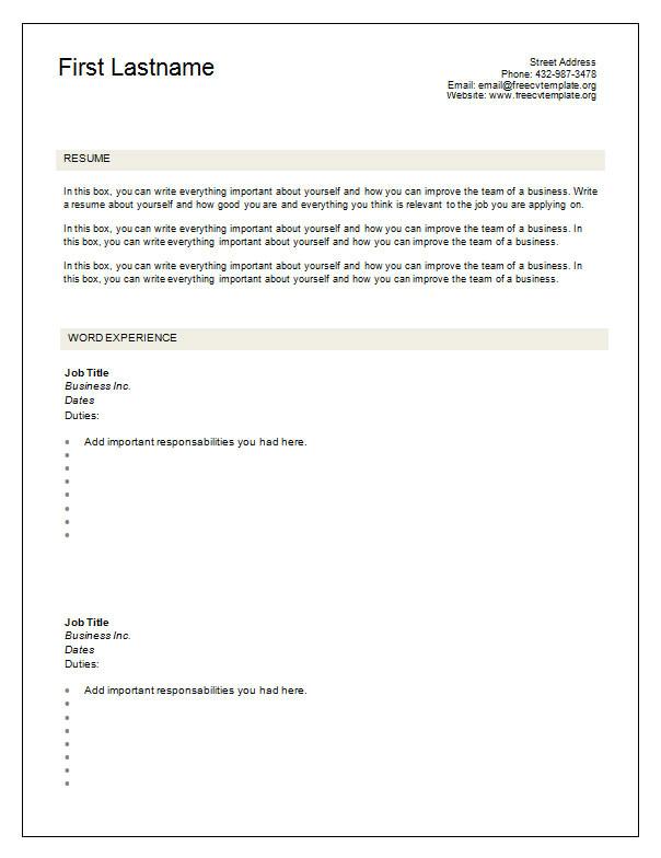 Blank format Of Cv Resume 7 Free Blank Cv Resume Templates for Download Free Cv