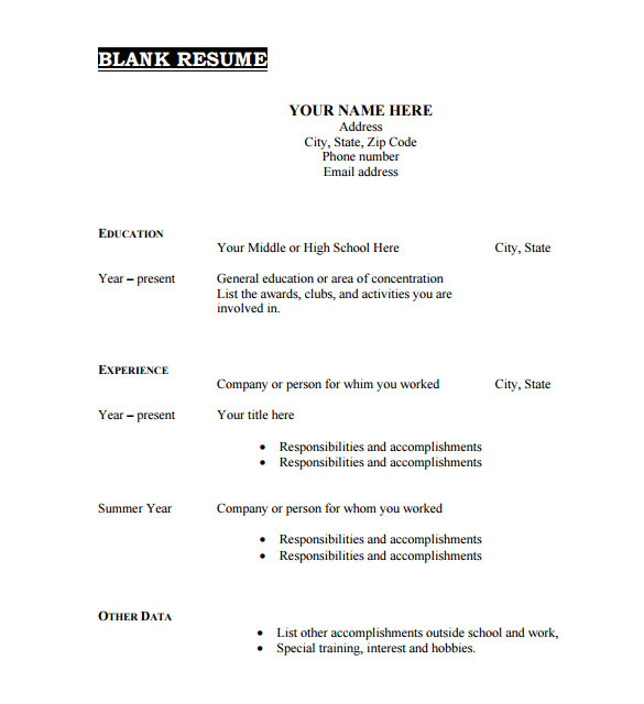 Blank Resume format Free Download 46 Blank Resume Templates Doc Pdf Free Premium