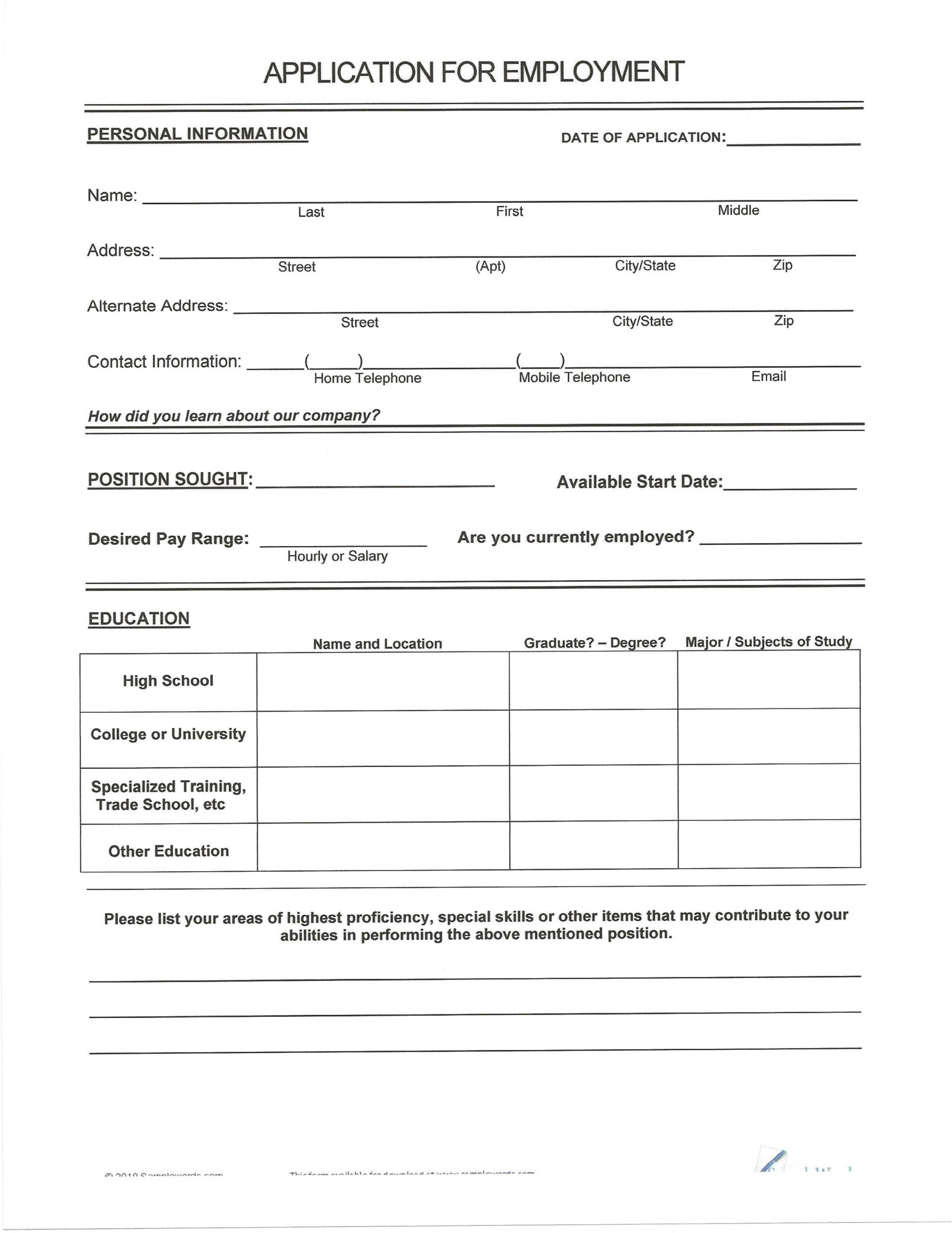Blank Resume to Fill Out and Print Resume format Blank Resume form to Fill Out