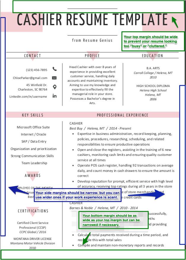 resume fonts margins paper guidelines