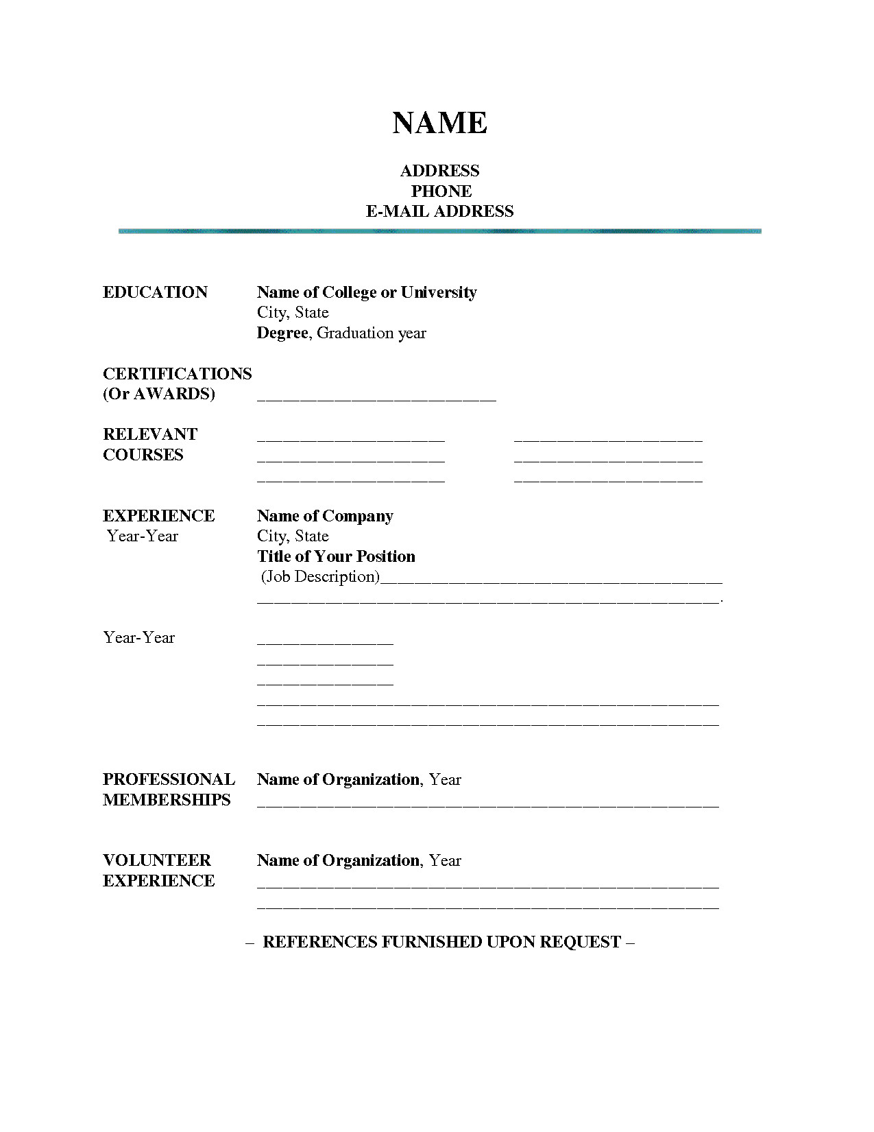 Blank Template Of Resume 7 8 Resume Blank format Pdf Resumename Com
