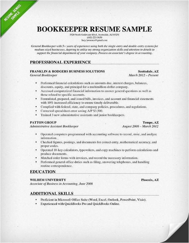 Bookkeeper Resume Sample Bookkeeper Resume Sample Guide Resume Genius