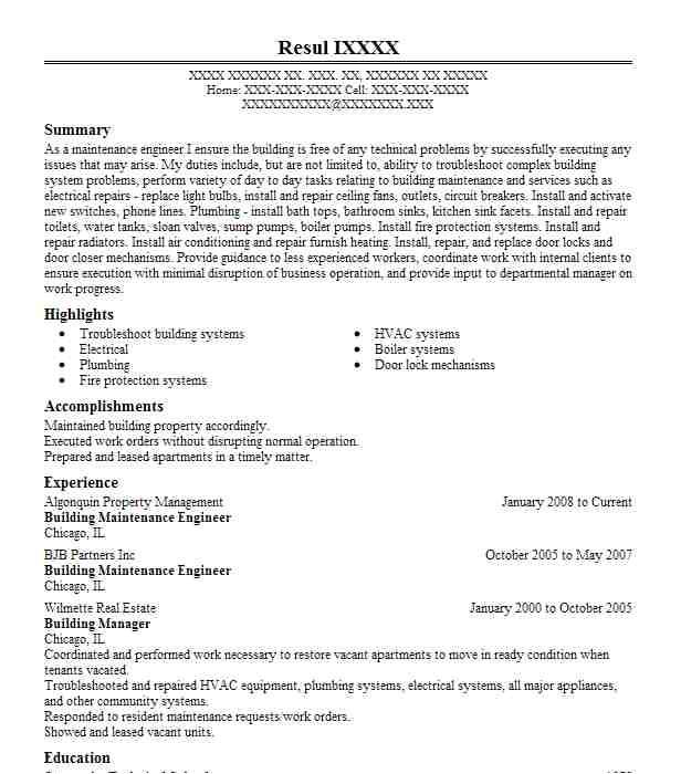 building maintenance engineer resume objective