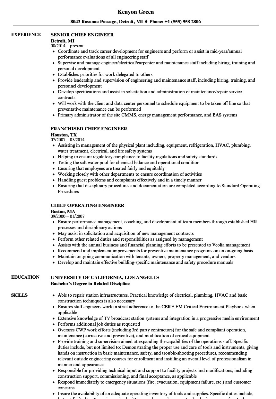 engineer chief resume sample