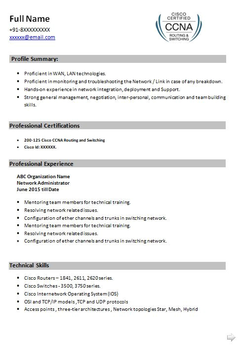 ccna resume samples for network engineers