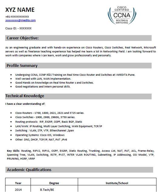 ccna resume format for freshers  williamsonga