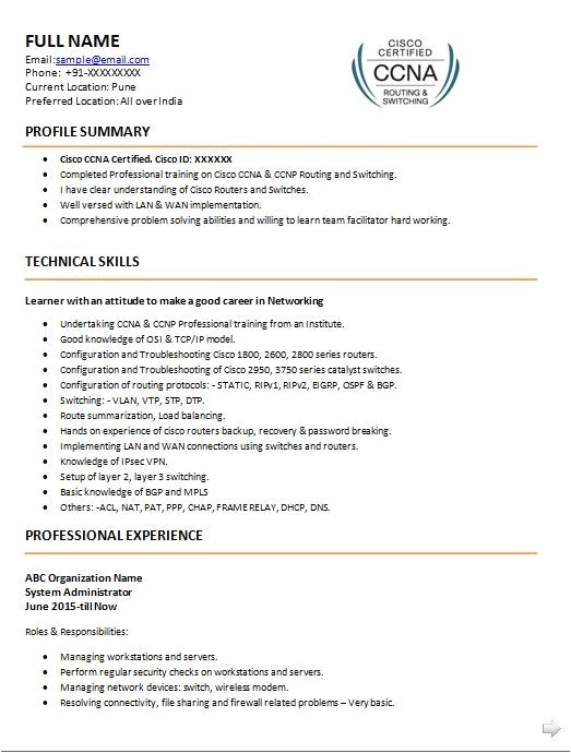 for ccna fresher resume format free download