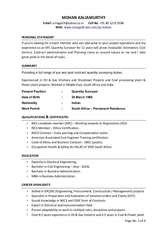 quantity surveyor cv 64226666