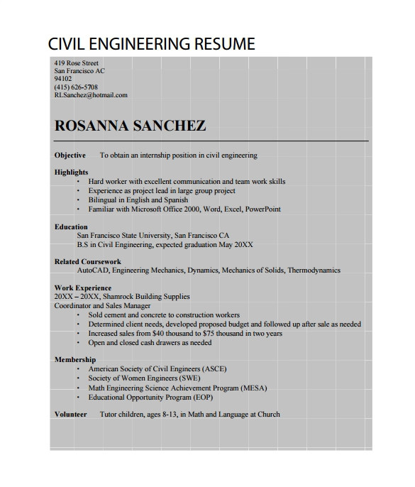 Civil Engineer Resume Achievements 19 Civil Engineer Resume Templates Pdf Doc Free