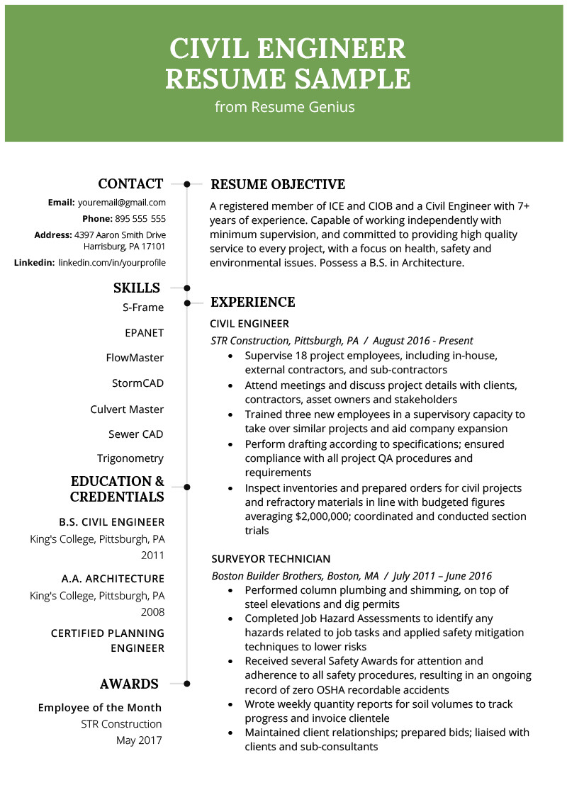 civil engineering resume example