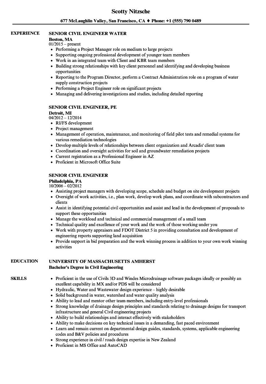 senior civil engineer resume sample