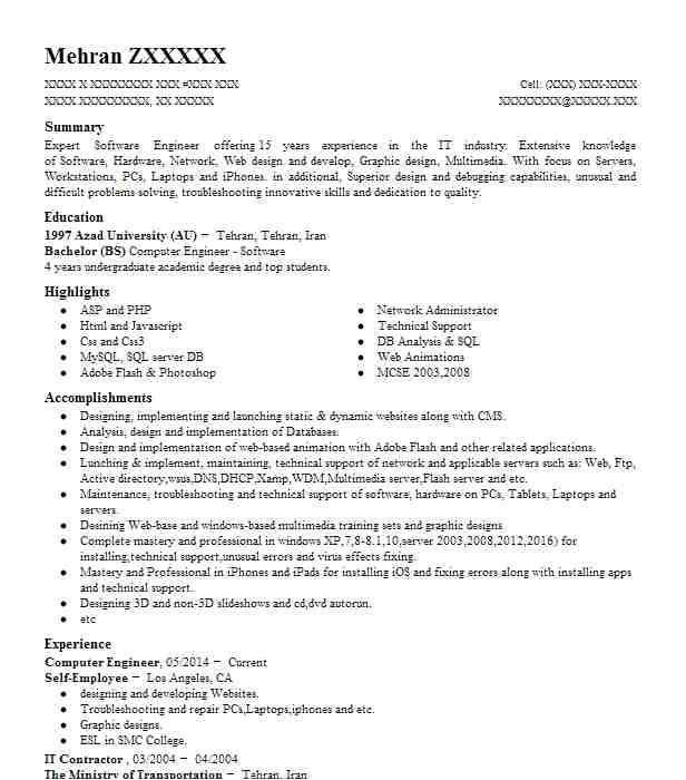 computer engineering resume