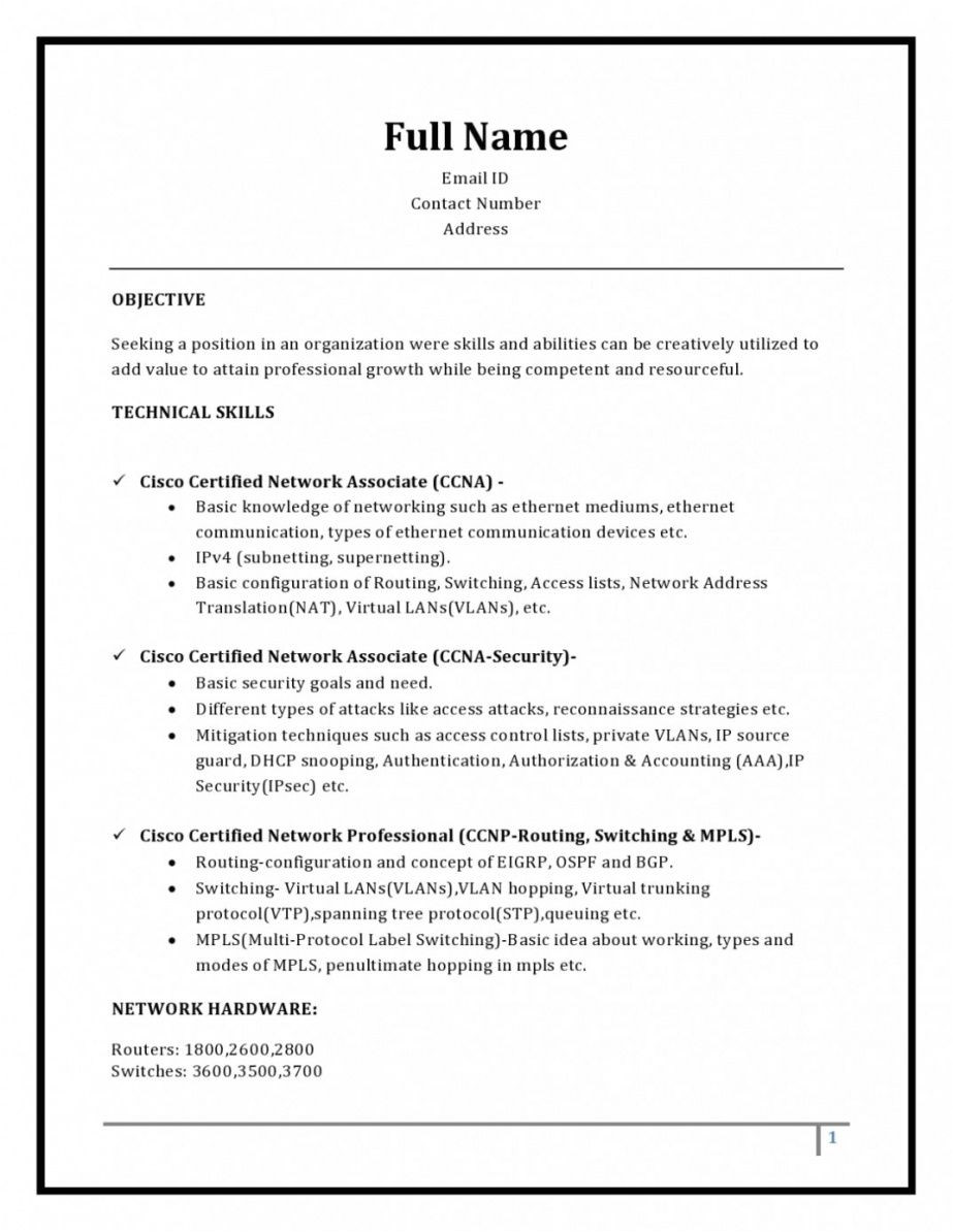 computer hardware and networking fresher resume format