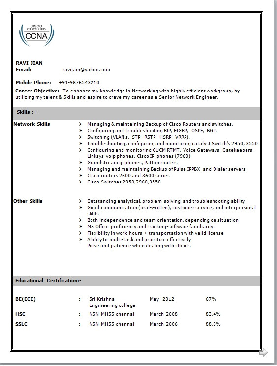 resume format for freshers networking engineers