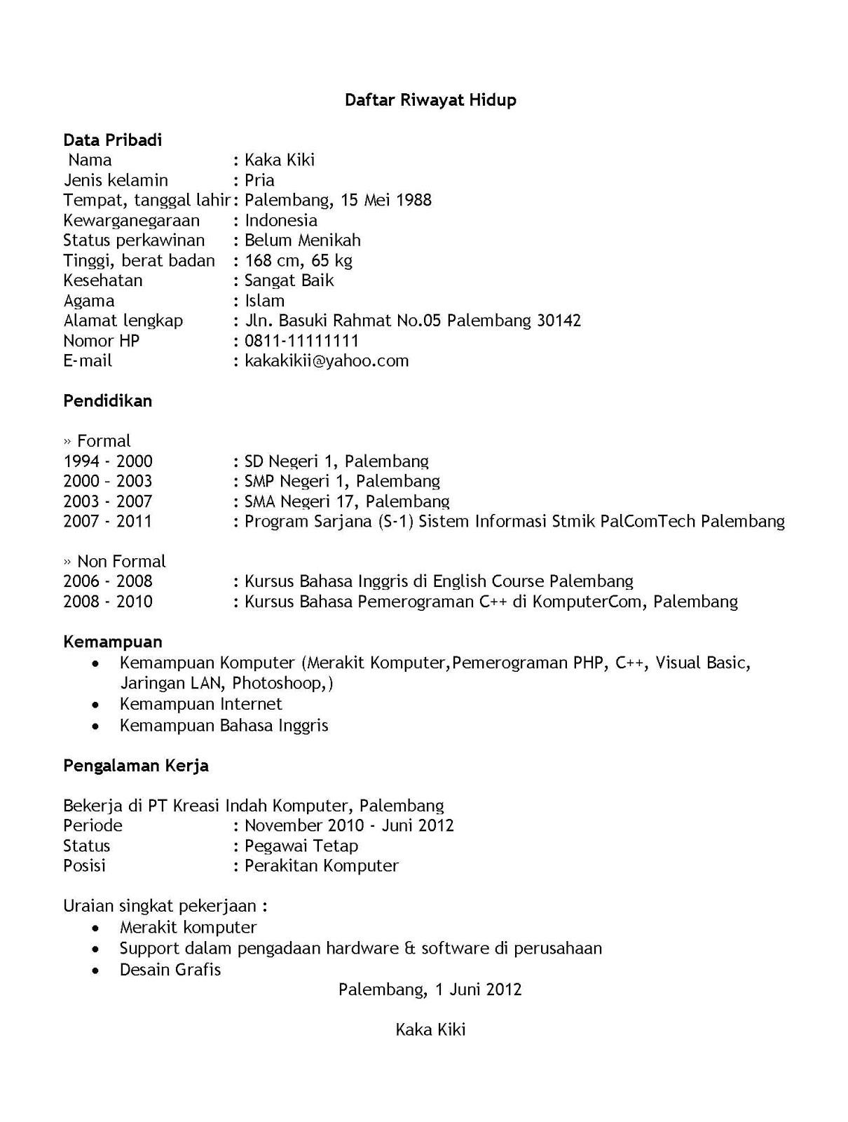 contoh resume microsoft word