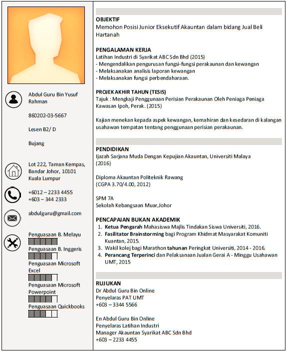 Contoh Resume Professional Panduan Membuat Resume Contoh Resume Boleh Diedit