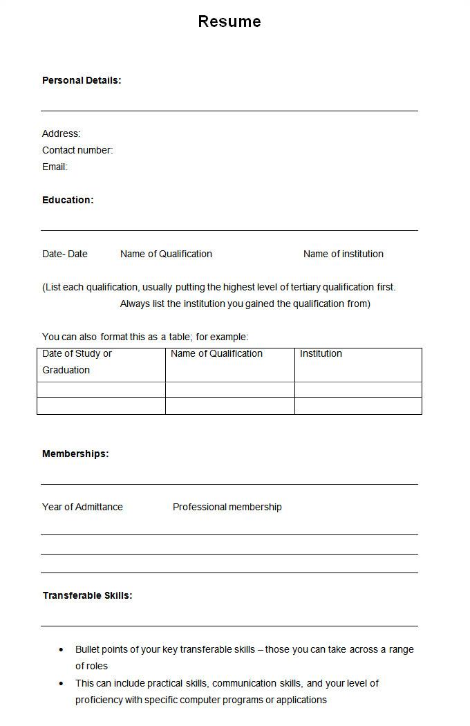 Copy Of A Blank Resume 46 Blank Resume Templates Doc Pdf Free Premium