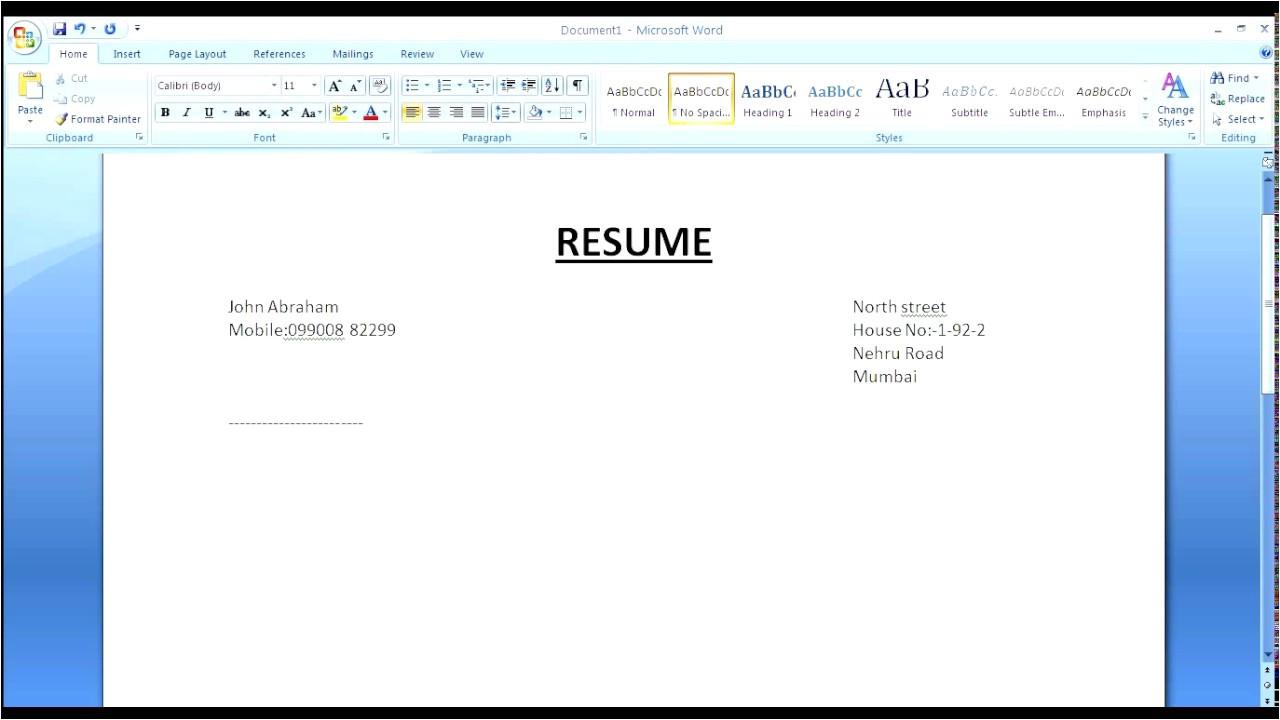 Create Resume format Word Simple Resume In Microsoft Word Youtube