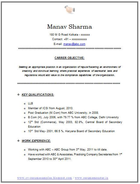 resume format for llb cs