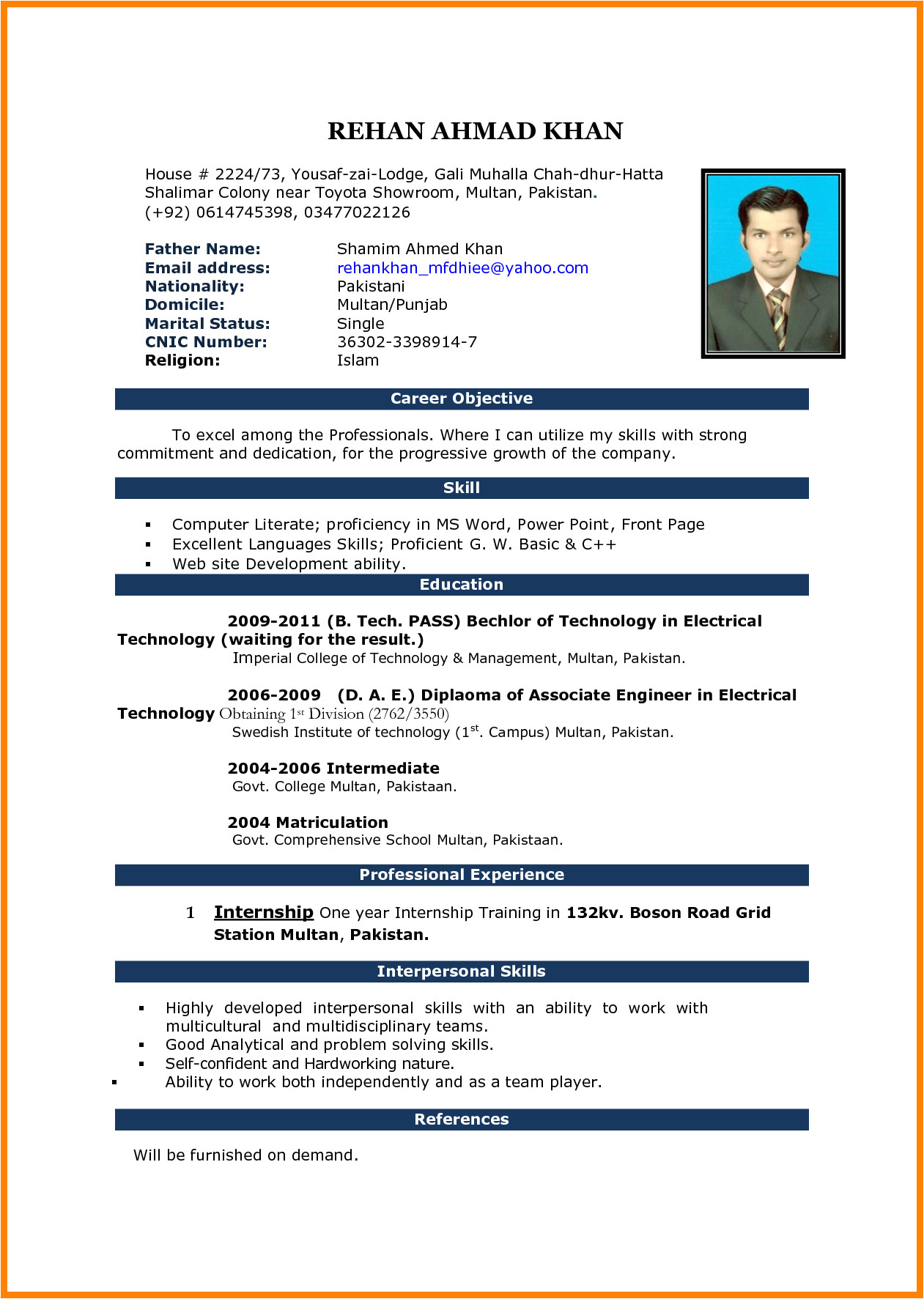 Cv Resume format Word File 5 Cv Samples Word File Download theorynpractice