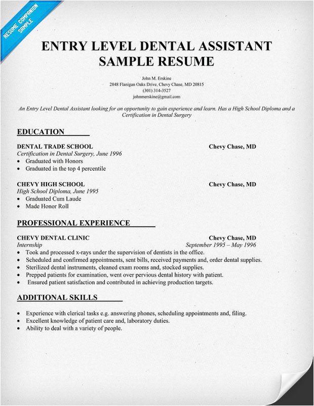 Dental assistant Student Resume Entry Level Dental assistant Resume Sample Dentist