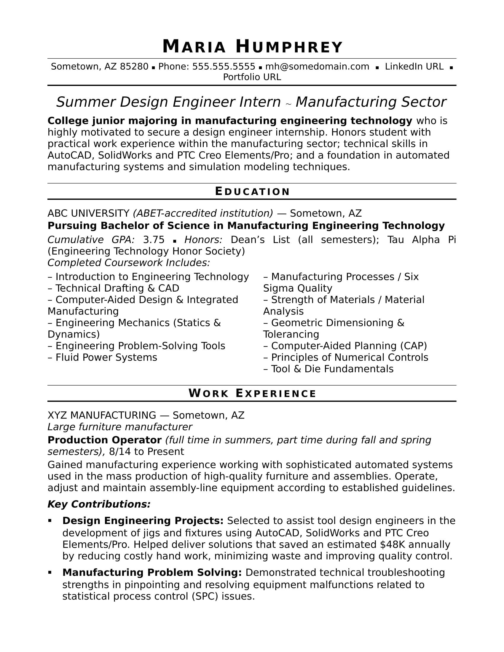 Design Engineer Resume Sample Resume for An Entry Level Design Engineer Monster Com