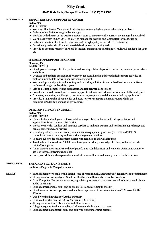 Desktop Support Engineer Resume Desktop Support Engineer Resume Samples Velvet Jobs