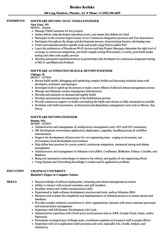 Devops Engineer Resume Devops Engineer software Engineer Resume Samples