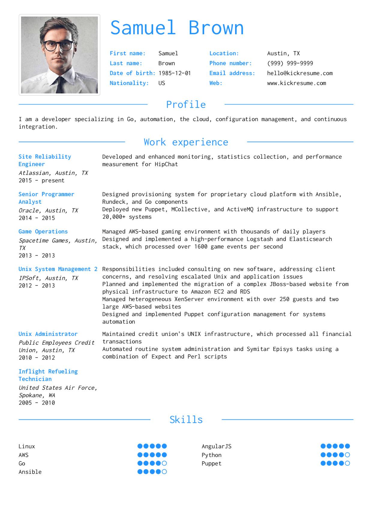 it developer engineer resume sample