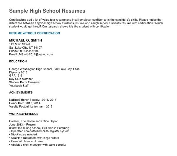high school student resumes