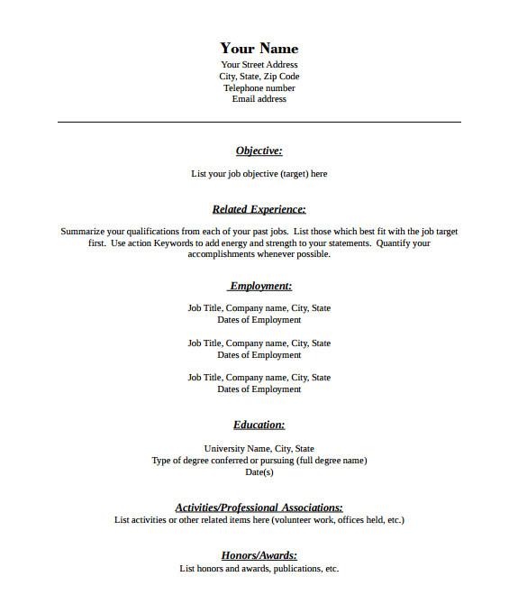 download blank resume pdf
