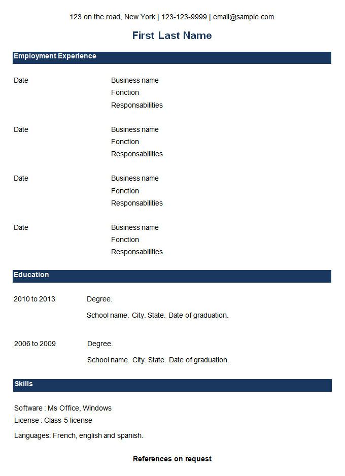 Download Free Basic Resume Template 70 Basic Resume Templates Pdf Doc Psd Free