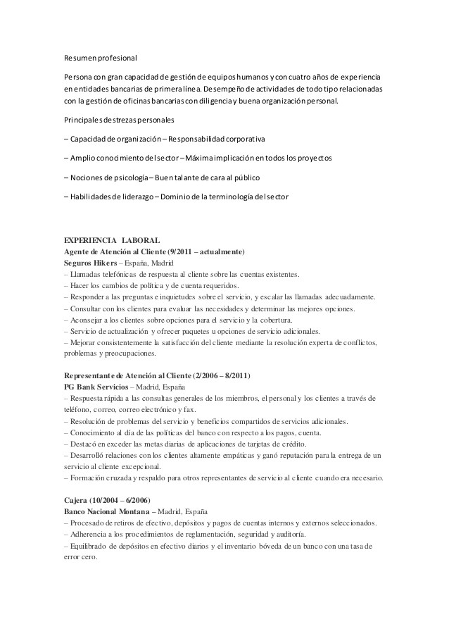 Ejemplo De Resumen Profesional Resumen Profesional Cv