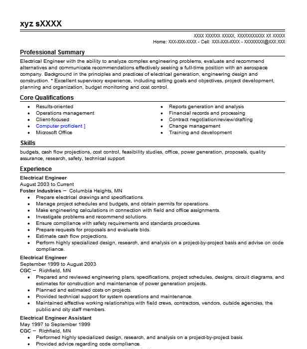 Electrical Engineer Resume Objective Electrical Engineer Resume Objectives Resume Sample