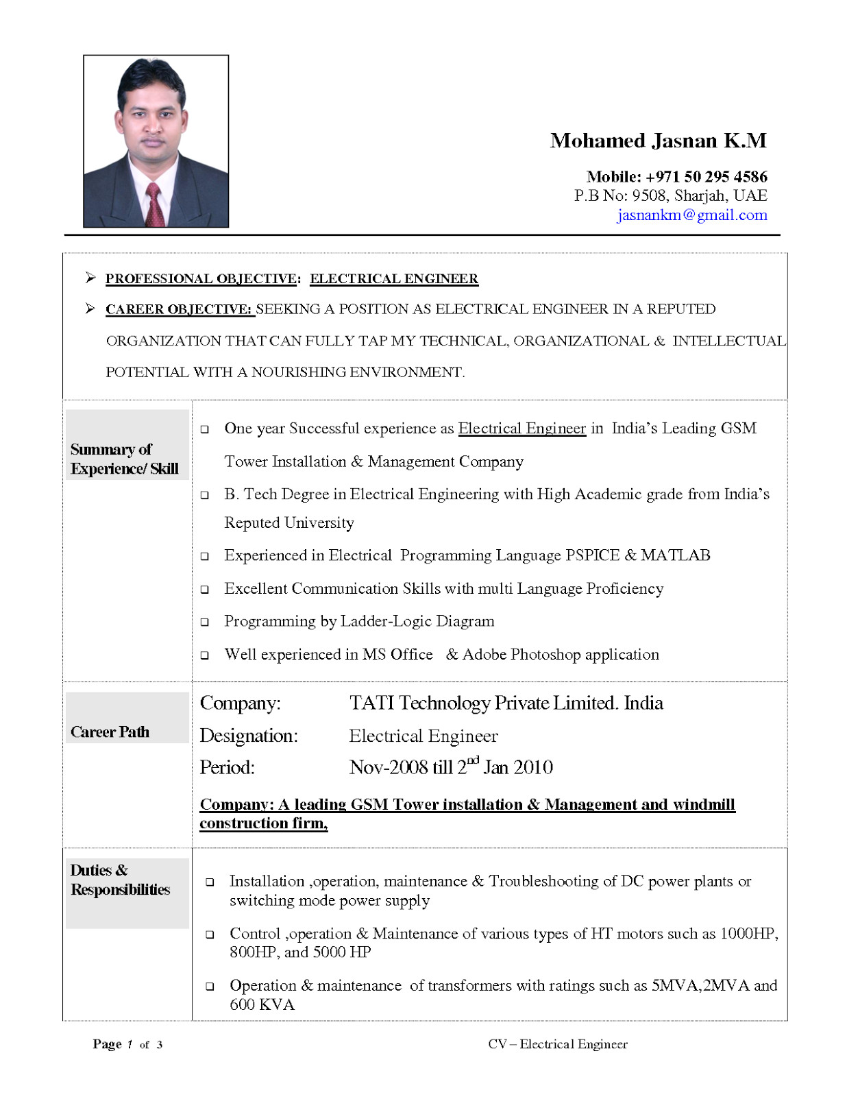 resume objective examples electrical