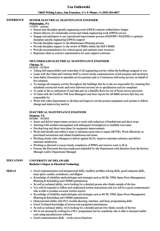 Electrical Maintenance Engineer Resume Electrical Maintenance Engineer Resume Samples Velvet Jobs