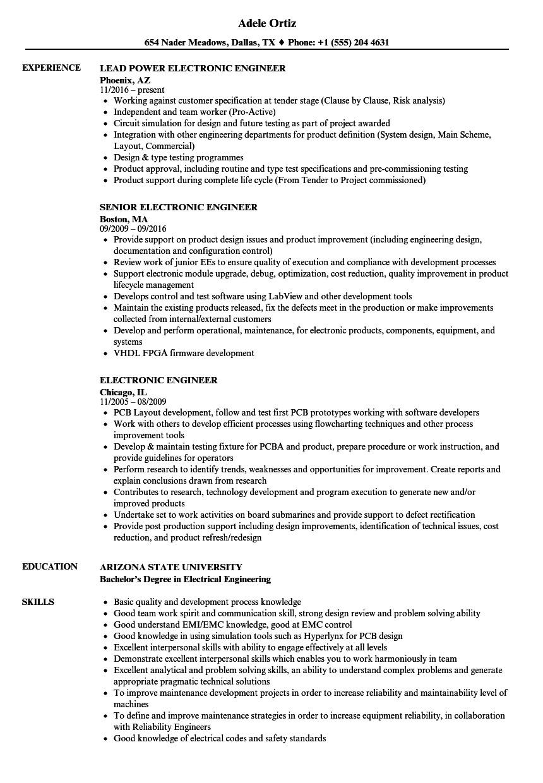 electronic engineer resume sample