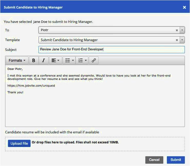 email format for sending resume for job  williamsonga