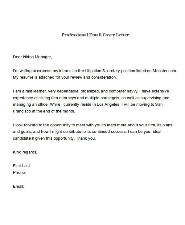 email job application with cover letter and resume