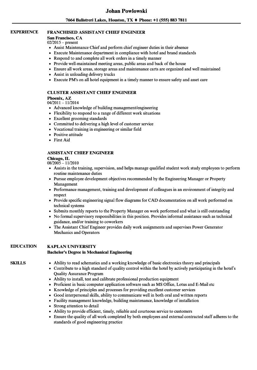 assistant chief engineer resume sample