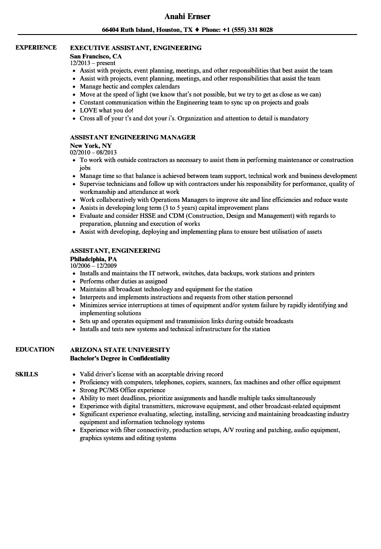 assistant engineering resume sample