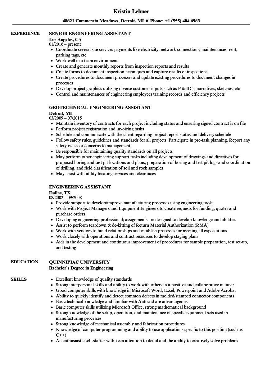 engineering assistant resume sample