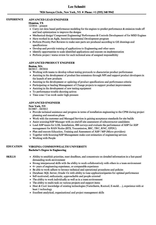 advanced engineer resume sample