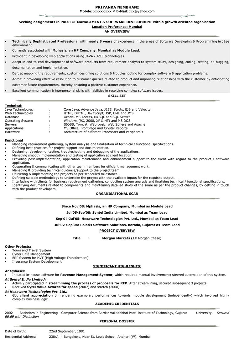 Engineer Resume 5 Years Experience Sample Resume for software Engineer with 5 Years