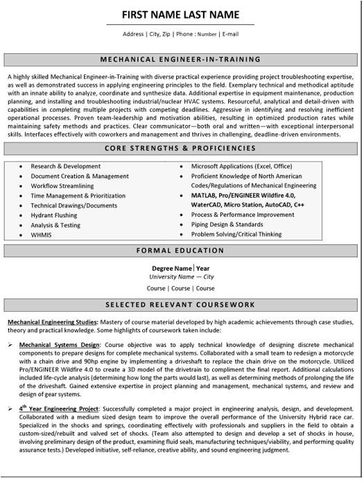 Engineer Resume Canada Mechanical Engineer Resume Sample Template